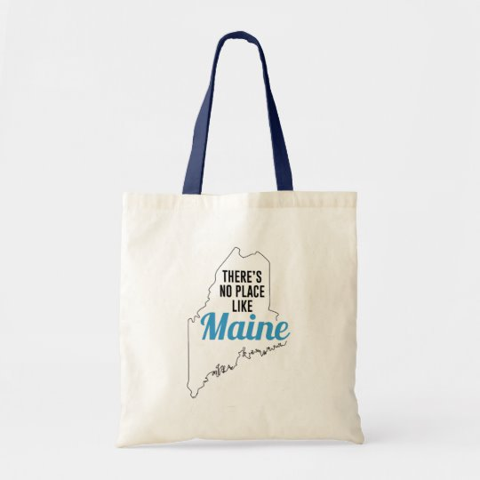 There is No Place Like Maine Tote Bag, Maine State Holiday Christmas, Maine Canvas Grocery Shopping Reusable Bag, Maine Home Base by Clotee.com There is No Place Like Home