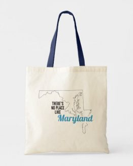 There is No Place Like Maryland Tote Bag, Maryland State Holiday Christmas, Maryland Canvas Grocery Shopping Reusable Bag, Maryland Home Base by Clotee.com There is No Place Like Home