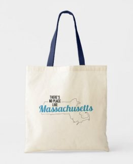 There is No Place Like Massachusetts Tote Bag, Massachusetts State Holiday Christmas, Massachusetts Canvas Grocery Shopping Reusable Bag, Massachusetts Home Base by Clotee.com There is No Place Like Home