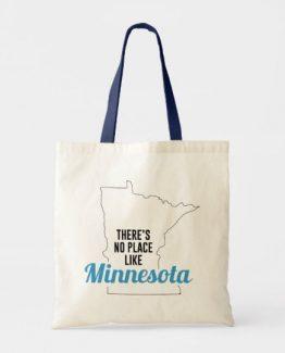 There is No Place Like Minnesota Tote Bag, Minnesota State Holiday Christmas, Minnesota Canvas Grocery Shopping Reusable Bag, Minnesota Home Base by Clotee.com There is No Place Like Home