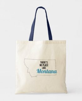 There is No Place Like Montana Tote Bag, Montana State Holiday Christmas, Montana Canvas Grocery Shopping Reusable Bag, Montana Home Base by Clotee.com There is No Place Like Home