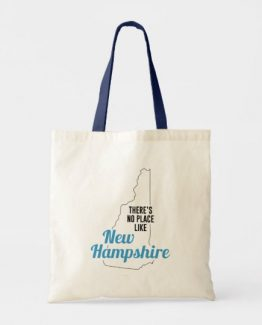 There is No Place Like New Hampshire Tote Bag, New Hampshire State Holiday Christmas, New Hampshire Canvas Grocery Shopping Reusable Bag, New Hampshire Home Base by Clotee.com There is No Place Like Home