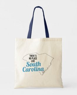 There is No Place Like South Carolina Tote Bag, South Carolina State Holiday Christmas, South Carolina Canvas Grocery Shopping Reusable Bag, South Carolina Home Base by Clotee.com There is No Place Like Home