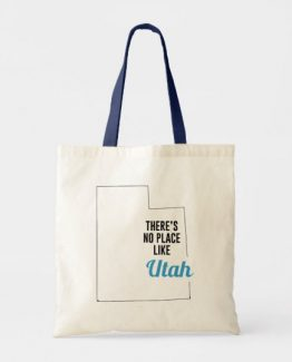 There is No Place Like Utah Tote Bag, Utah State Holiday Christmas, Utah Canvas Grocery Shopping Reusable Bag, Utah Home Base by Clotee.com There is No Place Like Home