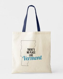 There is No Place Like Vermont Tote Bag, Vermont State Holiday Christmas, Vermont Canvas Grocery Shopping Reusable Bag, Vermont Home Base by Clotee.com There is No Place Like Home