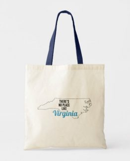 There is No Place Like Virginia Tote Bag, Virginia State Holiday Christmas, Virginia Canvas Grocery Shopping Reusable Bag, Virginia Home Base by Clotee.com There is No Place Like Home