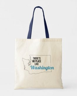 There is No Place Like Washington Tote Bag, Washington State Holiday Christmas, Washington Canvas Grocery Shopping Reusable Bag, Washington Home Base by Clotee.com There is No Place Like Home