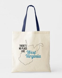 There is No Place Like West Virginia Tote Bag, West Virginia State Holiday Christmas, West Virginia Canvas Grocery Shopping Reusable Bag, West Virginia Home Base by Clotee.com There is No Place Like Home