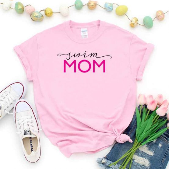 T-Shirt Swim Mom, Funny Swim Mama, Swim Mom Saying Tee, Swim Shirt Design Ideas, Plus Size Swim Outfit, Swim Parents. Printed and delivered from USA or UK.