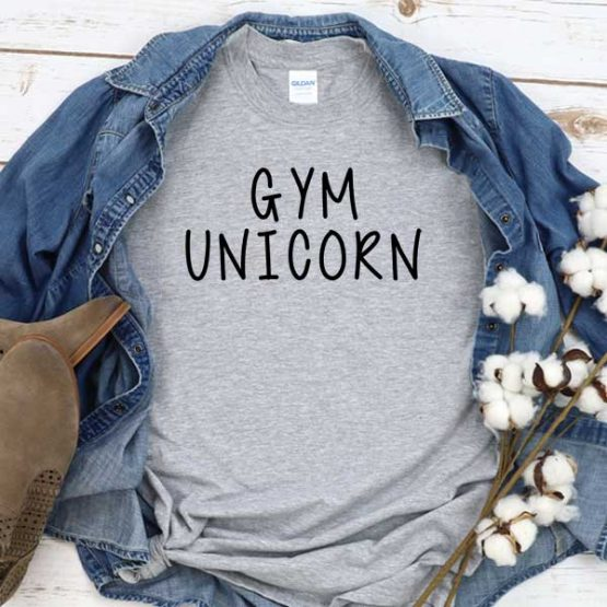 T-Shirt Gym Unicorn men women round neck tee. Printed and delivered from USA or UK