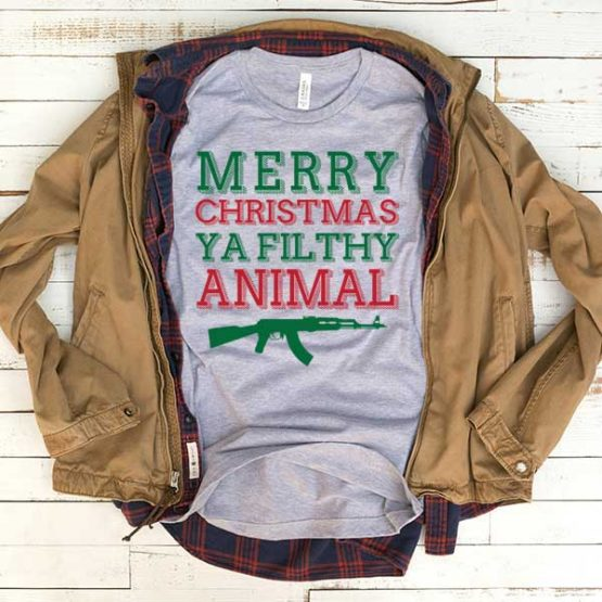 T-Shirt Merry Christmas Ya Filthy Animal men women funny graphic quotes tumblr tee. Printed and delivered from USA or UK.