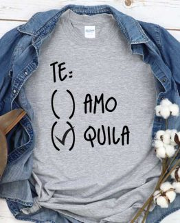 T-Shirt Teamo Tequila men women round neck tee. Printed and delivered from USA or UK