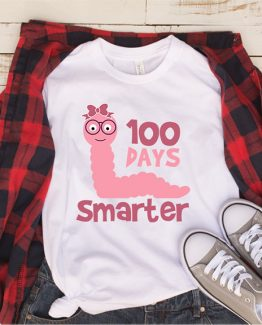 T-Shirt 100 Days Smarter  Girl by Clotee.com Aesthetic Clothing