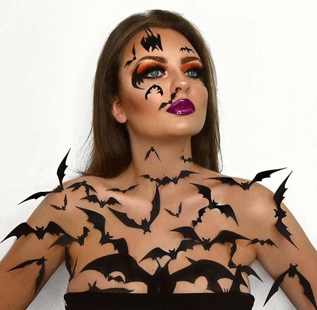 Bat Makeup Ideas - BAT FACE AND BODY MAKEUP
