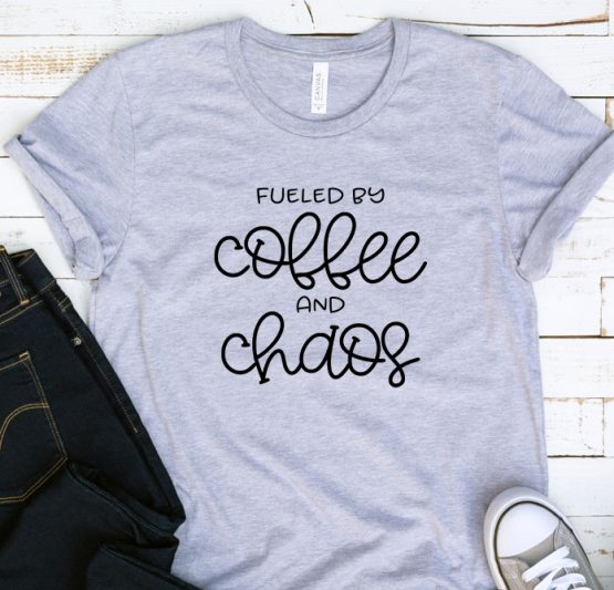 T-Shirt Adulting Fueled By Coffee And Chaos by Clotee.com Aesthetic Clothing