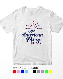 T-Shirt All American Boy Patriotic Kids Independence Day 4th July by Clotee.com Aesthetic Clothing