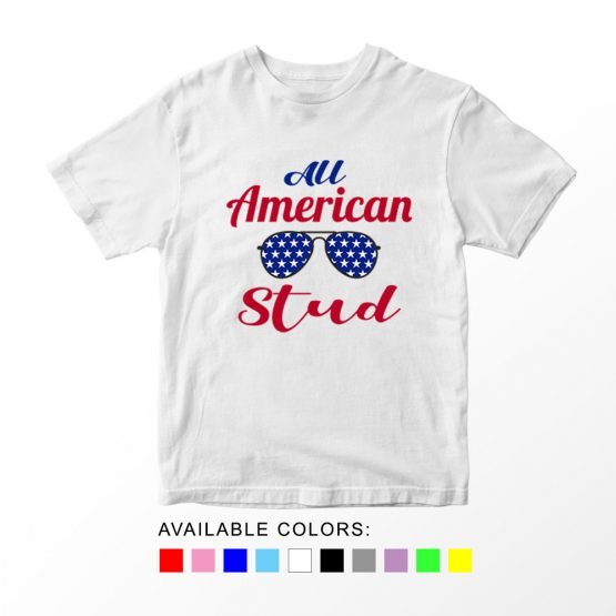T-Shirt All American Stud Patriotic Kids Independence Day 4th July by Clotee.com Aesthetic Clothing