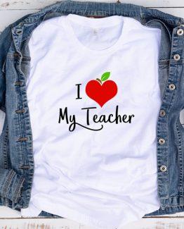 T-Shirt Apple Heart I Love My Teacher by Clotee.com Aesthetic Clothing
