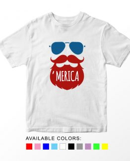 T-Shirt Beard 01 Patriotic Kids Independence Day 4th July by Clotee.com Aesthetic Clothing