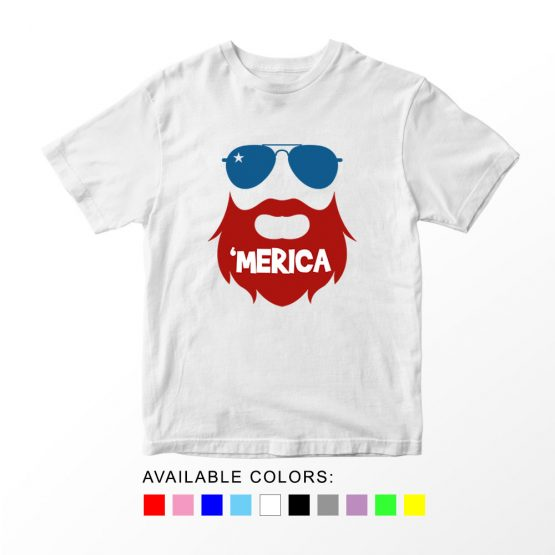T-Shirt Beard 02 Patriotic Kids Independence Day 4th July by Clotee.com Aesthetic Clothing