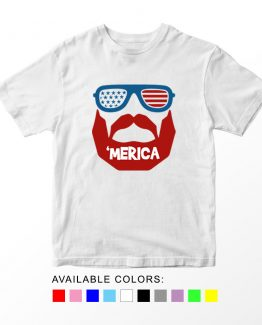 T-Shirt Beard 03 Patriotic Kids Independence Day 4th July by Clotee.com Aesthetic Clothing