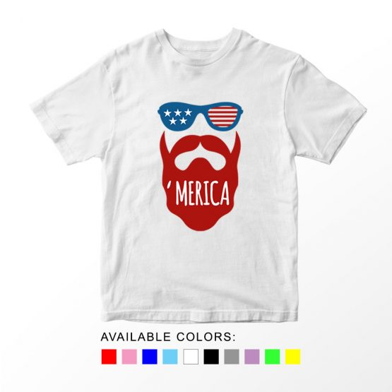 T-Shirt Beard 04 Patriotic Kids Independence Day 4th July by Clotee.com Aesthetic Clothing
