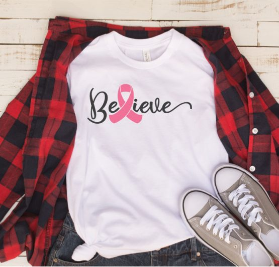 T-Shirt Cancer Awareness Believe by Clotee.com Tumblr Aesthetic Clothing