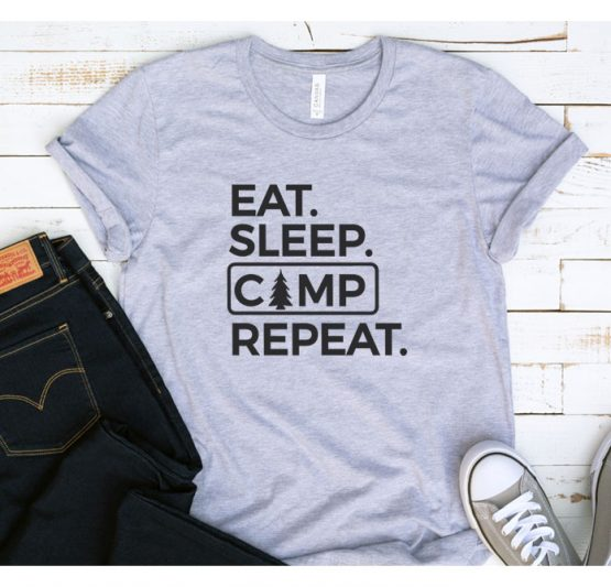 T-Shirt Vacation Eat Sleep Camp Repeat by Clotee.com Tumblr Aesthetic Clothing