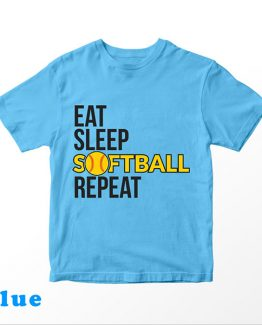T-Shirt Kids Eat Sleep Softball Repeat by Clotee.com Aesthetic Clothing