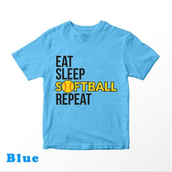 T-Shirt Kids Eat Sleep Softball Repeat by Clotee.com Aesthetic Clothing