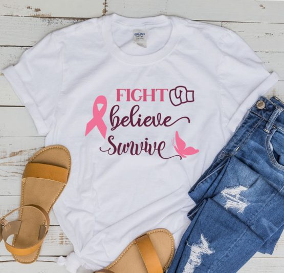 T-Shirt Cancer Awareness Fight Believe Survive by Clotee.com Tumblr Aesthetic Clothing