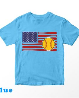 T-Shirt Kids Flag Softball by Clotee.com Aesthetic Clothing