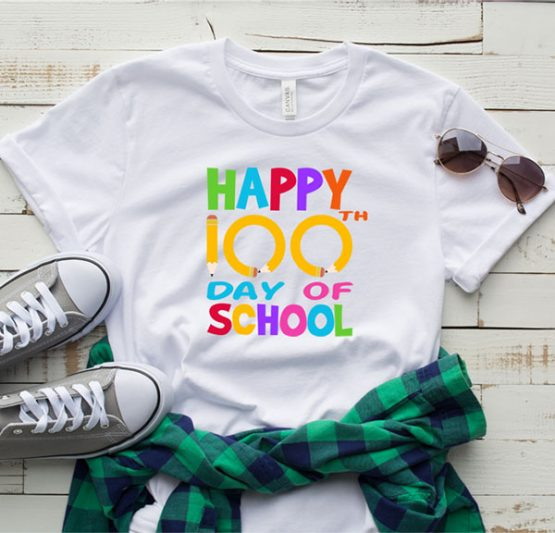 T-Shirt Happy 100th Day Of School 1 by Clotee.com Aesthetic Clothing