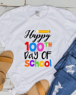 T-Shirt Happy 100th Day Of School 2 by Clotee.com Aesthetic Clothing