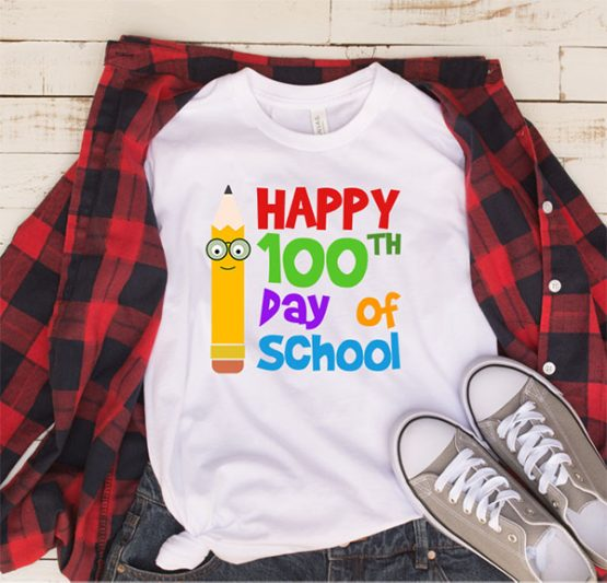 T-Shirt Happy 100th Day Of School 3 by Clotee.com Aesthetic Clothing