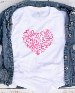 T-Shirt Cancer Awareness Hearts Ribbon Cancer by Clotee.com Tumblr Aesthetic Clothing