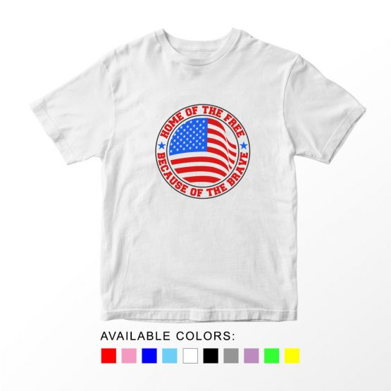 T-Shirt Home Of Brave Patriotic Kids Independence Day 4th July by Clotee.com Aesthetic Clothing