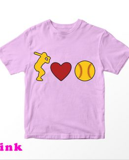 T-Shirt Kids I Love Softball by Clotee.com Aesthetic Clothing