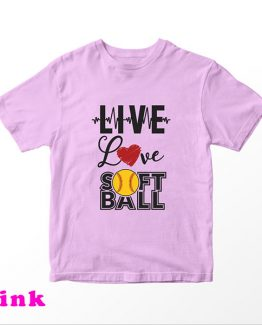 T-Shirt Kids Live Love Softball by Clotee.com Aesthetic Clothing