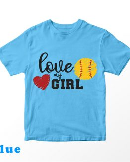 T-Shirt Kids Love My Girl Softball by Clotee.com Aesthetic Clothing