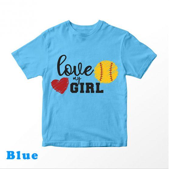 T-Shirt Kids Love My Girl Softball by Clotee.com Aesthetic Clothing