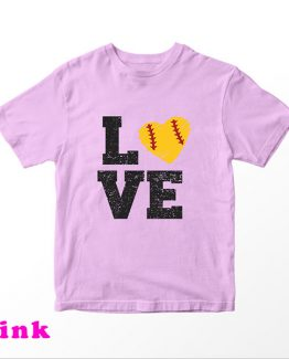 T-Shirt Kids Love Softball by Clotee.com Aesthetic Clothing