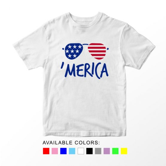 T-Shirt Merica Glasses 2 Patriotic Kids Independence Day 4th July by Clotee.com Aesthetic Clothing