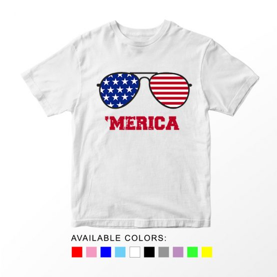 T-Shirt Merica Glasses Patriotic Kids Independence Day 4th July by Clotee.com Aesthetic Clothing