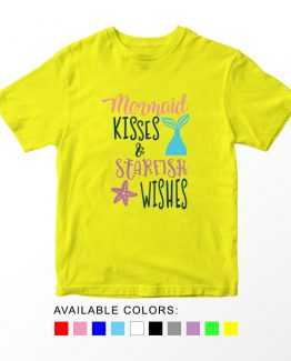 T-Shirt Kids Mermaid Kisses And Starfish Wishes by Clotee.com Aesthetic Clothing