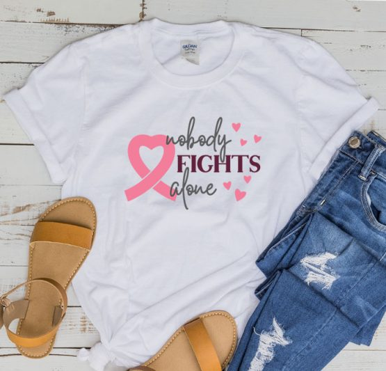 T-Shirt Cancer Awareness Nobody Fights Alone by Clotee.com Tumblr Aesthetic Clothing