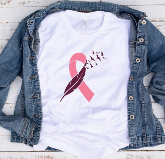 T-Shirt Cancer Awareness Ribbon Feather And Birds by Clotee.com Tumblr Aesthetic Clothing