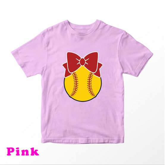 T-Shirt Kids Softball With Bow by Clotee.com Aesthetic Clothing