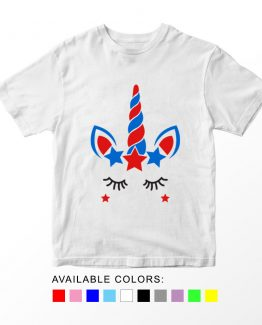 T-Shirt Unicorn 4th Of July 2 Patriotic Kids Independence Day 4th July by Clotee.com Aesthetic Clothing