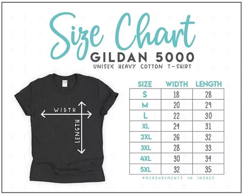 Gildan 5000 Unisex Size Chart